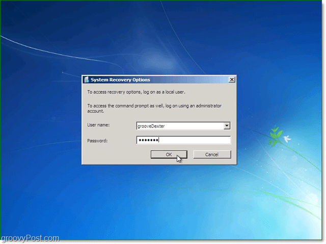 enter your user name and password for Windows 7 system recovery