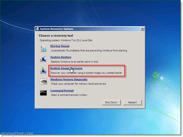 Windows 7 has 5 different ways to recover your system, choose system image recovery