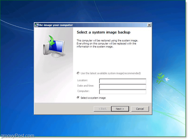 select you Windows 7 system image backup
