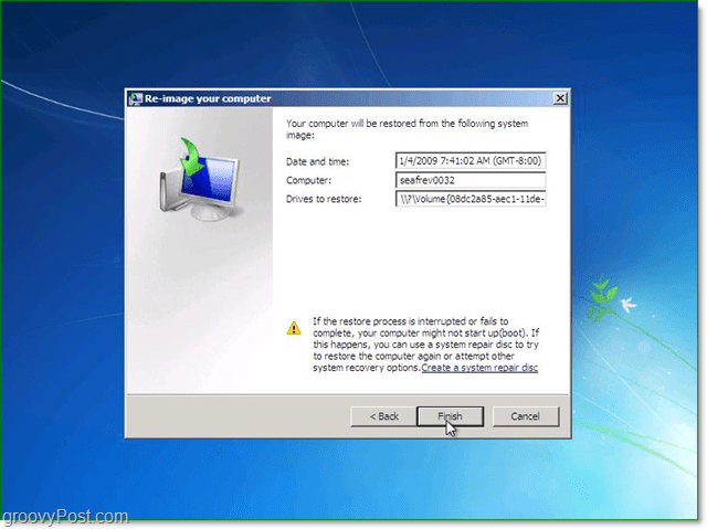 confirm your Windows 7 system image is the correct one