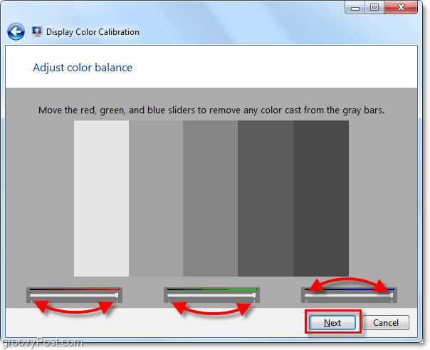 use the sliders to get windows 7 to a nuetral gray state, this can be tough