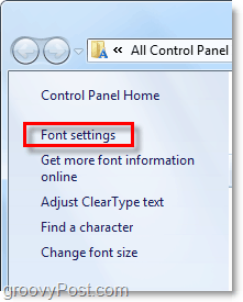 adjust the font settings in windows 7