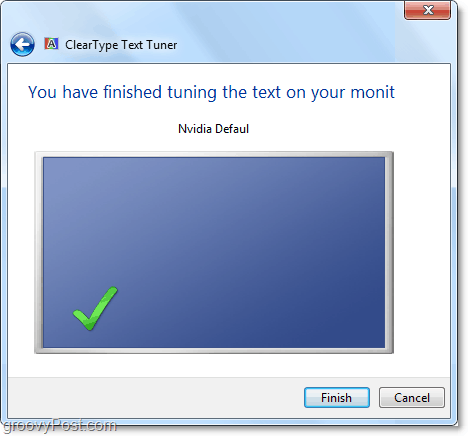 completion of cleartype tuner calibration in windows 7