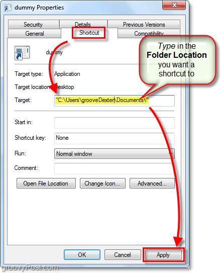 change shortcut target location windows 7
