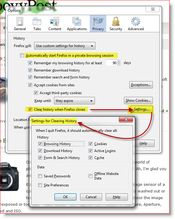 Firefox - automatically start firefox in private browsing session and settings for clearing history when firefox closes