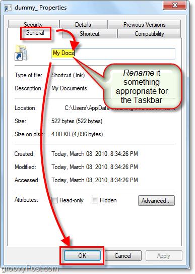 rename a taskbar shortcut windows 7