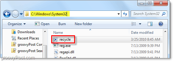 put the recycle bin in the windows 7 system32 folder