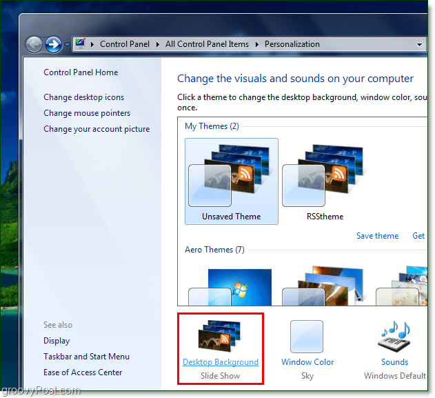 adjust the background rotation speed in windows 7