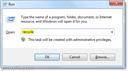 run the recycle bin in windows 7