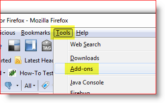 Open Firefox Add-on menu