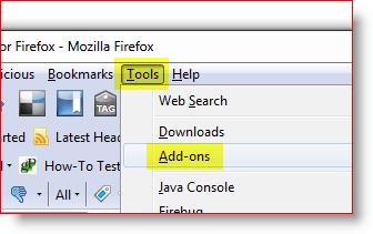 Open Firefox Add-on menu