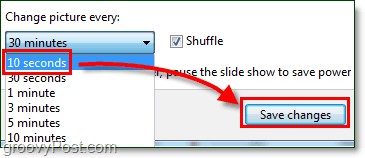 set the windows 7 background rotation speed to 10 seconds and save, change it back when done