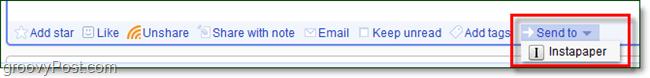 instapaper send to button in google reader