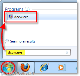 launch dccw from the start menu in windows 7