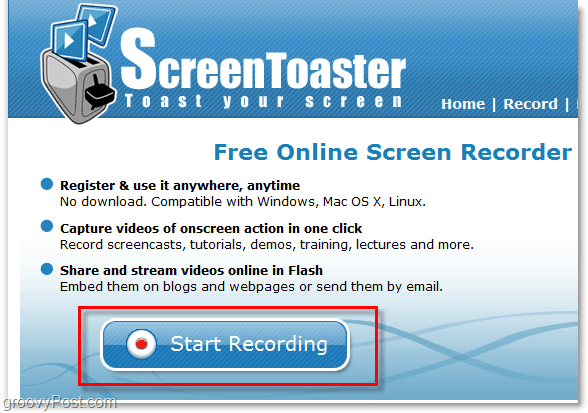 starting a screen capture recording using screentoaster