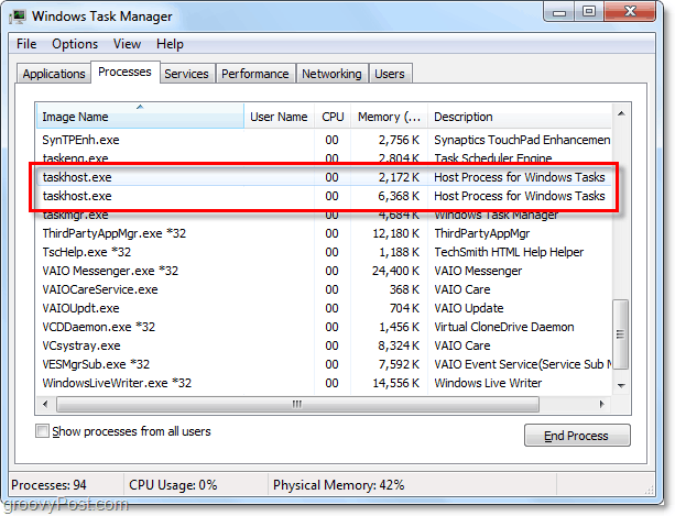 viewing taskhost.exe and svchost.exe in the task manager