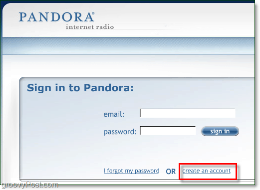 create a pandora account