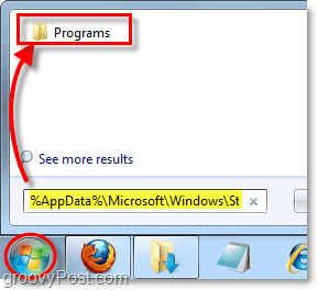 access the start menu folder from the start menu in windows 7