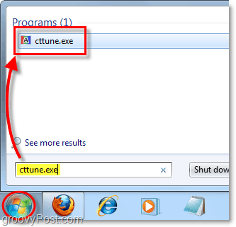 from the windows 7 start menu load cctune.exe to load clearType tuner