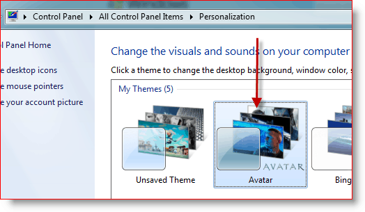 Windows 7 Theme Seclector for Avatar