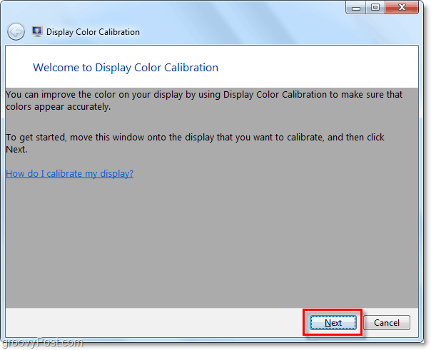 the windows 7 display color calibration welcome window