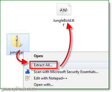 unzipping a free downloaded font for use with windows 7