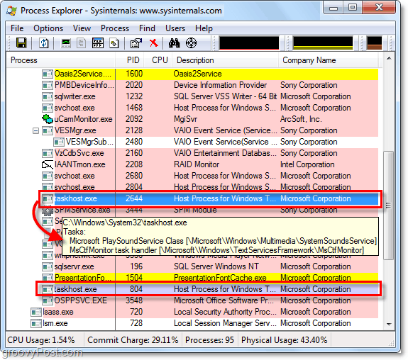Using Process explorer to view taskhost.exe and svchost.exe