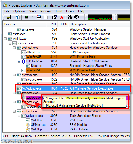 msmpeng.exe in windows 7 process explorer