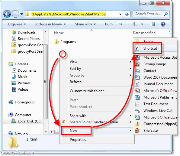 create a new shortcut in windows 7