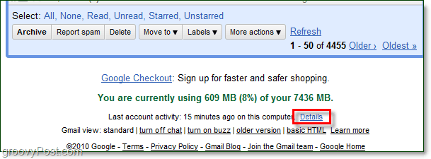 how to access recent gmail activity details