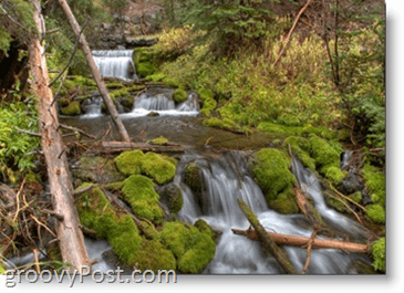 Photograph - Slow Shutterspeed Example - Green forest river stream water