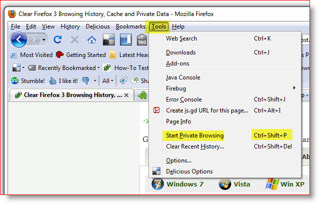 Start Private Browsing - Firefox