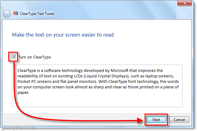 check the box to turn on cleartype and go to the next page. c