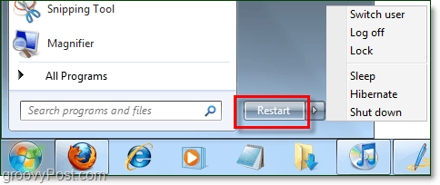 the windows 7 power button with changed properties to restart instead