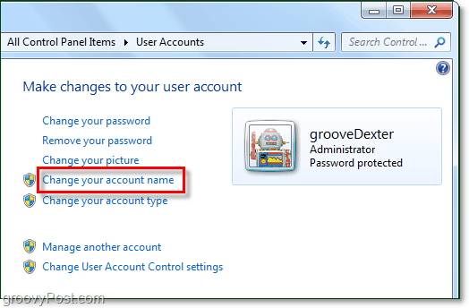 change your account name in windows 7