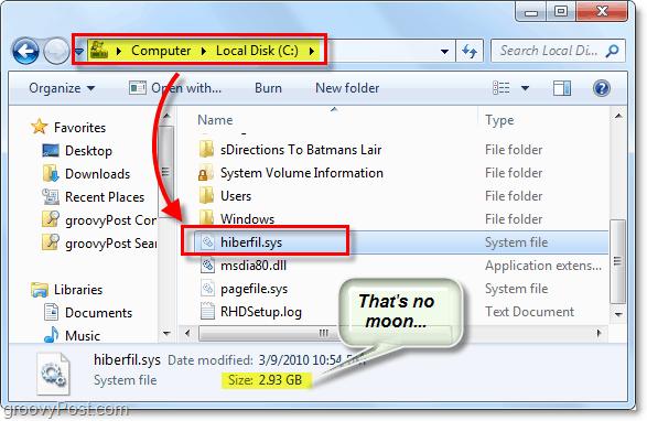 find hiberfil.sys in windows 7