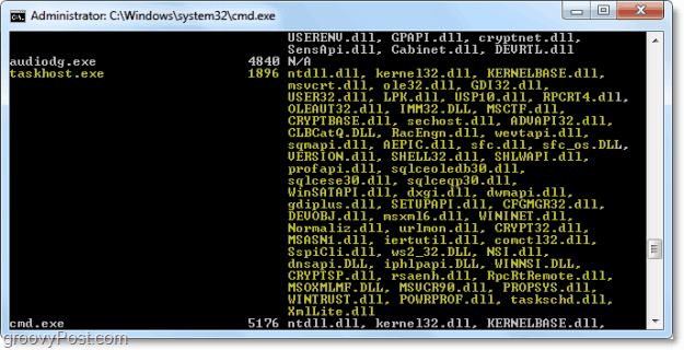 how to view processes in command prompt from windows 7