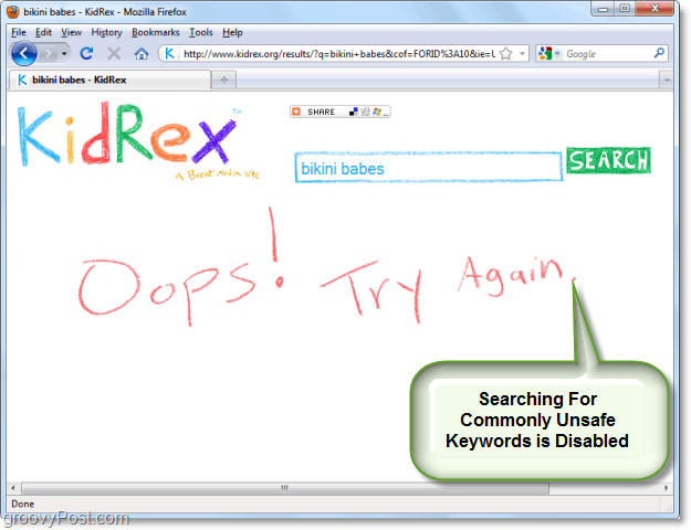 Block out bad words from being searched with kidrex