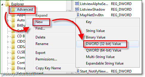 create a new dword 32-bit in windows 7