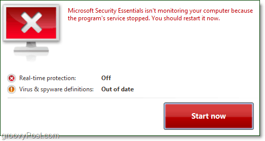 microsoft security essentials needs to be restarted notification