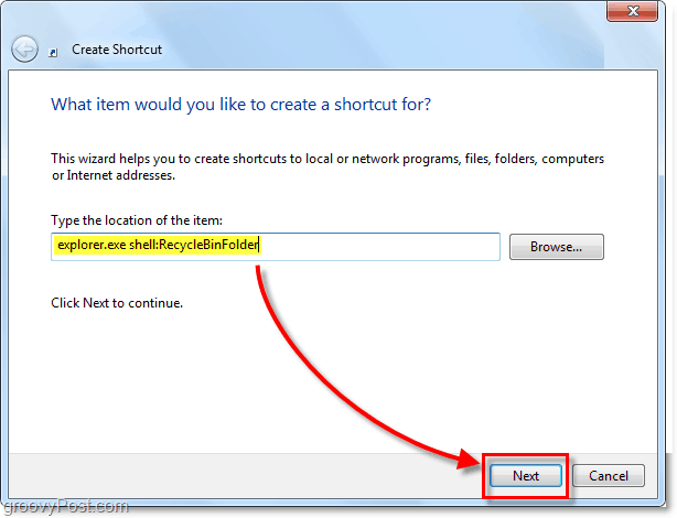 add the recycle bin explorer shelle extension as a windows 7 shortcut