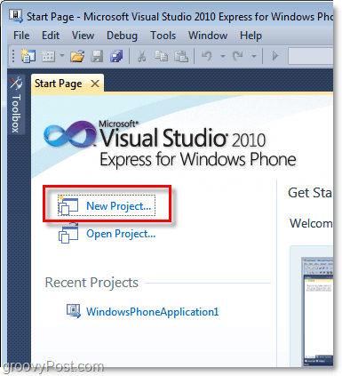 open a new visual studio windows phone 7 project