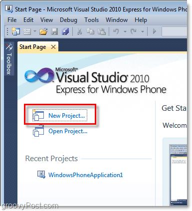 open a new visual studio windows phone 7 project