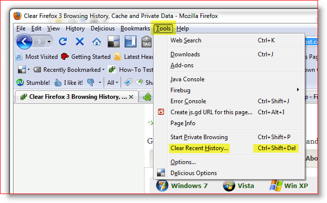 Clear Recent History / Cache / Cookies in Firefox