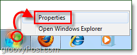how to open the start menu properties in windows 7