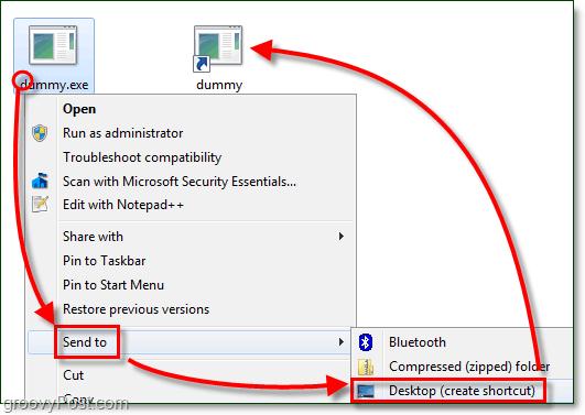 create a desktop shorcut windows 7