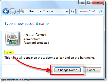create a new account name for windows 7