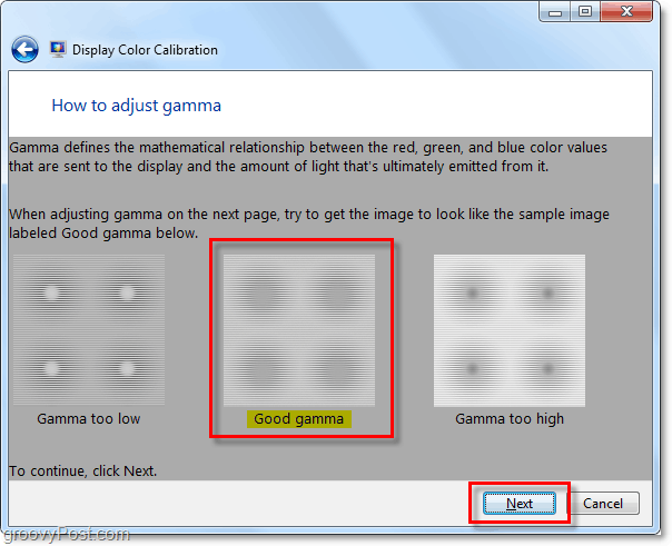 try to match the windows 7 example gamma image