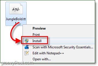 install to add a font to windows 7