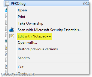 using the context menu to open notepad++